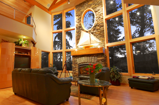 Living room with a view in an upscale house in washington state